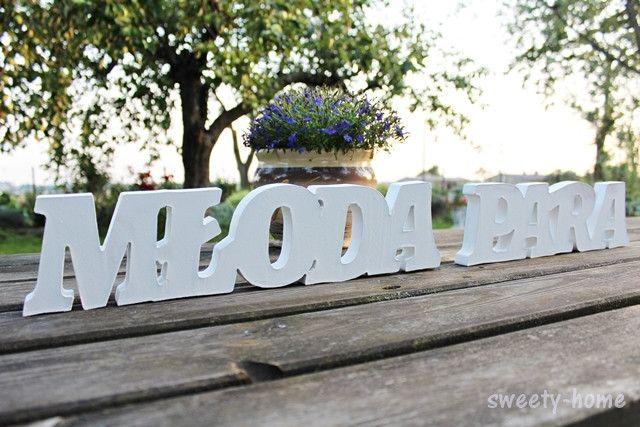 MŁODA PARA ślub dekoracja wesele napis litery 3D - sweety-home - Dekoracje ślubne