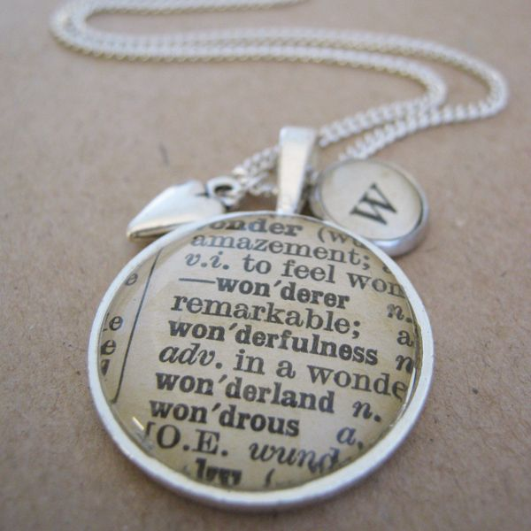 "Love using old books in my jewellery pieces - ""Wonder"" Double Pendant Necklace On A Whim Designs"