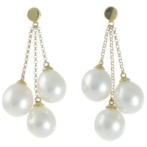 A pair of chain and pearl drop earrings featuring six drop shaped pearls measuing 8-9mm with a good lustre and clean surface set to 18ct yellow gold stud fittings with three alternating lengths of chain to create a tassel effect.