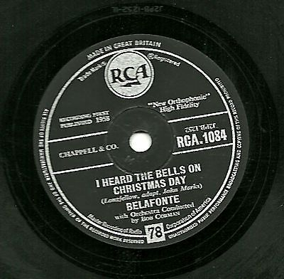 1958 harry belafonte 78 i #heard the #bells on christmas #day/son ...