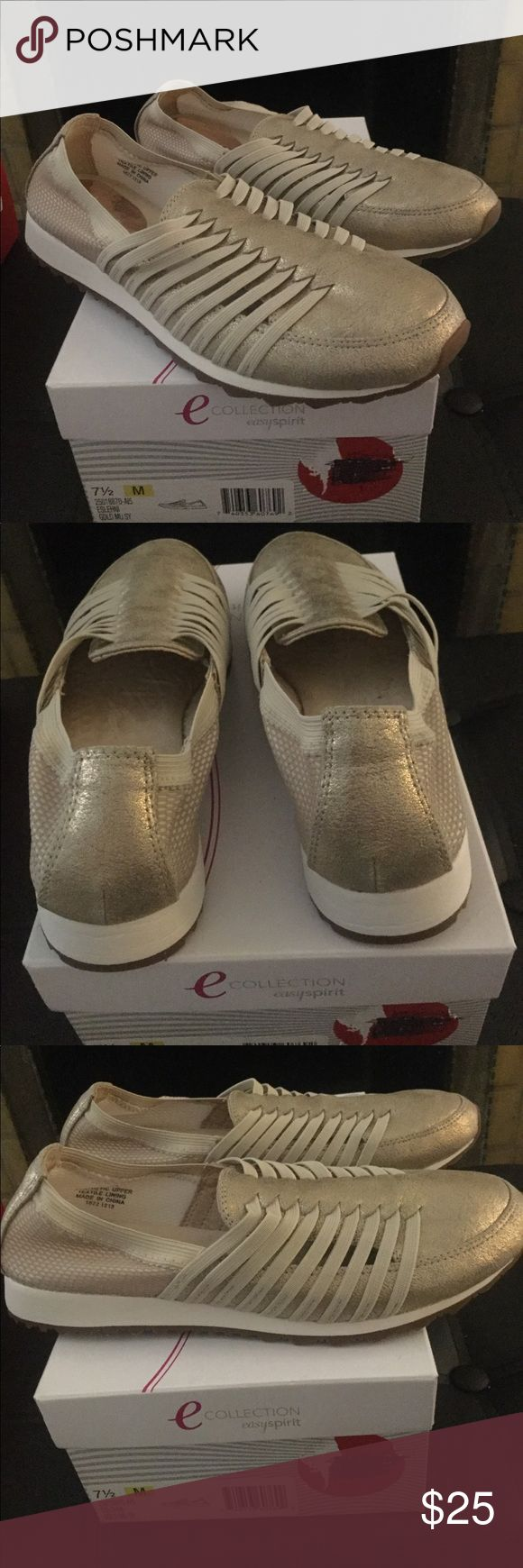 🎉FLASH SALE Easy Spirit Collection Shoes Easy Spirit Collection Slip on Shoes Sneaker like in gold has elastic on the front that stretches mesh on the back that stretches size is 7 1/2 but fits a 7 Easy Spirit Shoes