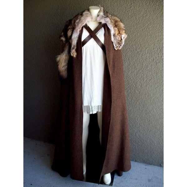 Cloak of Winterfell renaissance larp viking medieval costume fur wool... ❤ liked on Polyvore featuring costumes, fur costume, renaissance costumes and renaissance halloween costume