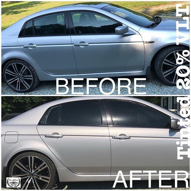 Silver Car Tinted Windows