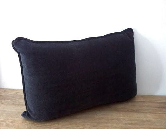"Charcoal #Grey #Velvet Throw #Pillow Cover 20"" by 12"" , Dark Grey #Cushion Cover, FREE SHIPPING"