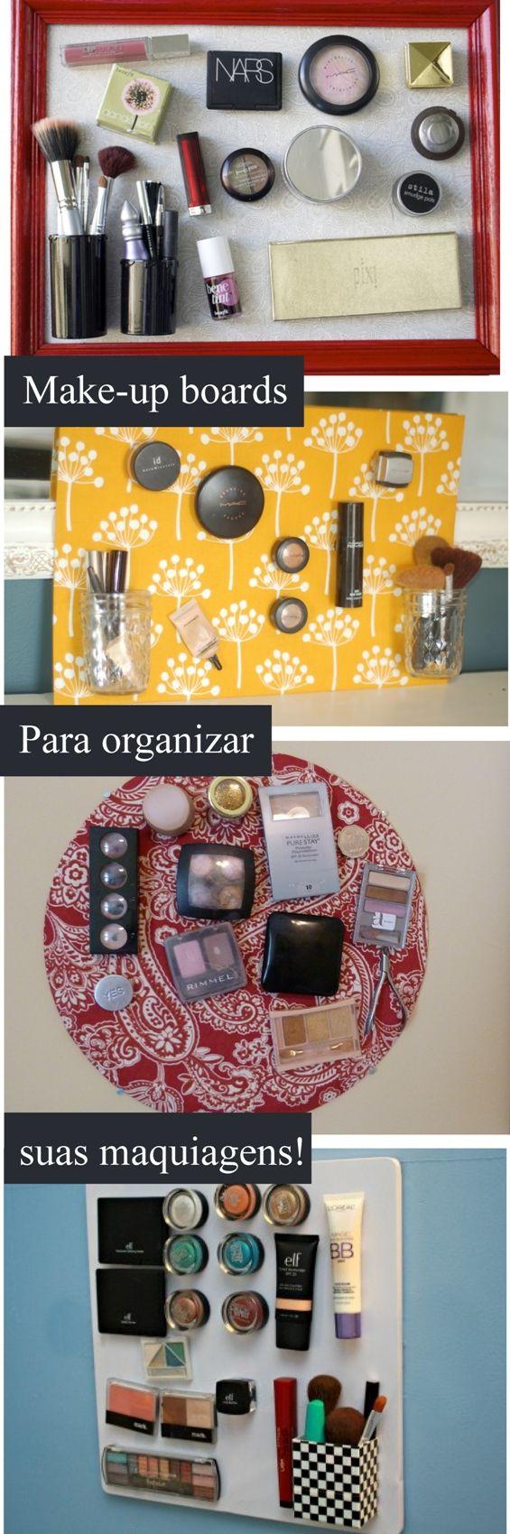 Quadros magnéticos para organizar as maquiagens