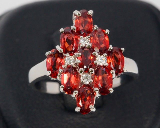 20ct Size 7 Mozambique Garnet Sterling Silver 925 Ring  emerald gemstone