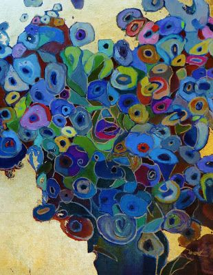 """""""Wildflower Waltz""""--Klimt inspired gold leaf and oil painting floral bouquet 20x24"""