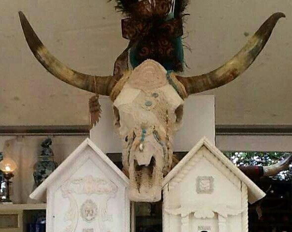 a lace/doily longhorn skull i put together in 14'