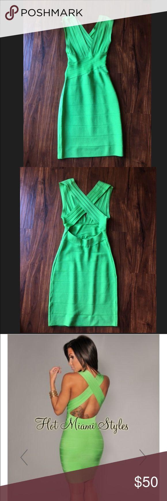 Hot Miami Styles Green Bandage Dress Hot Miami Styles Green Bandage Dress Size: S Worn once Dresses Mini