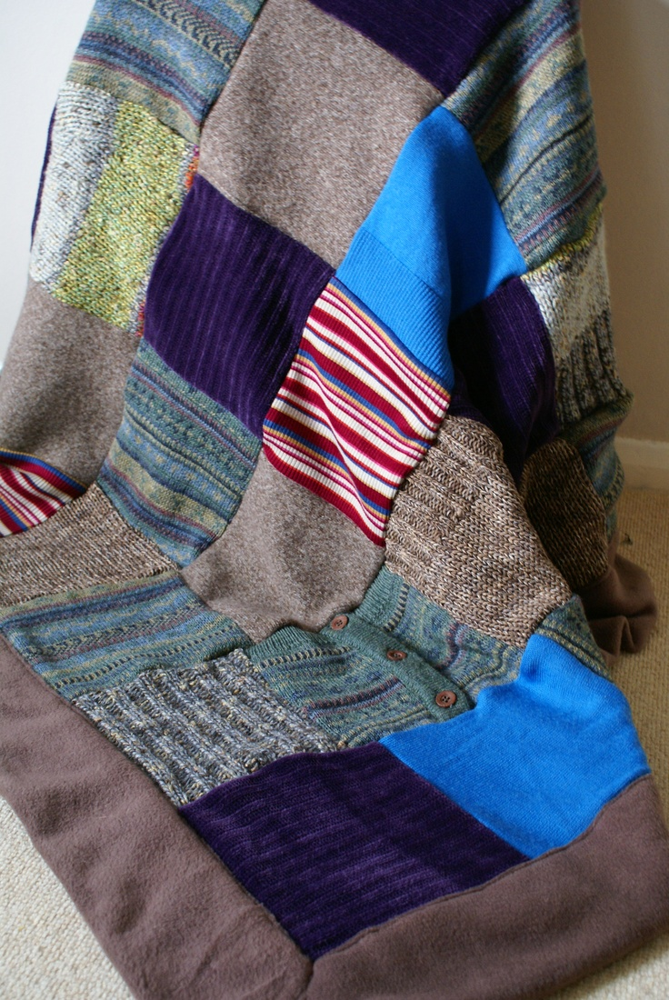Up-cycled knitwear throw