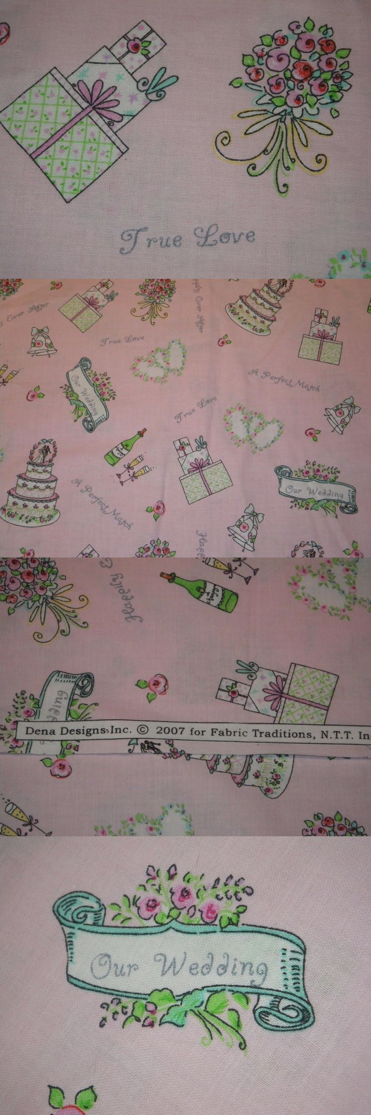 Fabric 28162: Dena Designs Pink Cotton Quilt Floral Wedding Cake Bridal Wine Fabric 3 Yards -> BUY IT NOW ONLY: $30 on eBay!