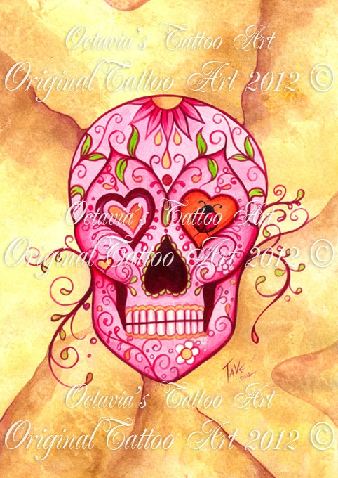 Sugar Skull Art | Sugar Skull Tattoo - Signed - Tattoo Art - Pink Skull - Its a Girl ...