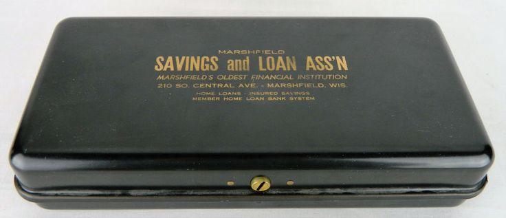 For Sale - Vintage Metal Safe Deposit Bank Money Box Marshfield WI Savings & Loan Wisconsin