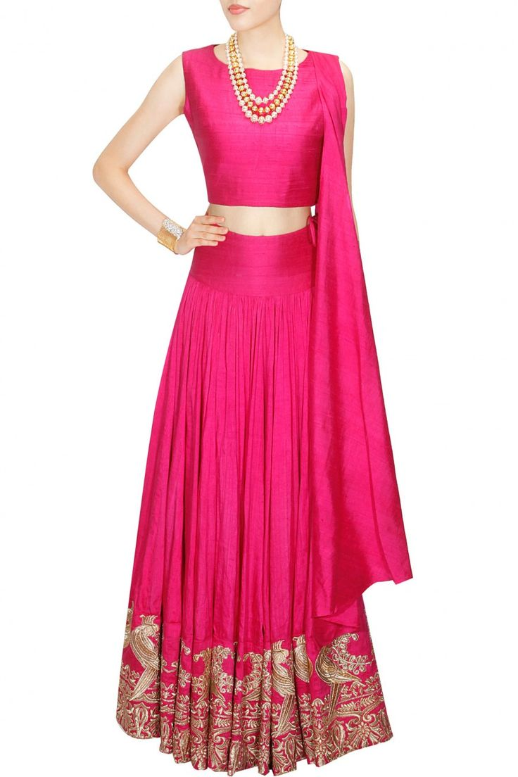 Pink mithu embroidered crop top and sharara set availaible only at Pernia's Pop Up Shop.