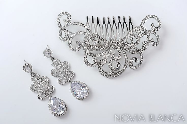NOVIA BLANCA bridal earrings and comb www.novia-blanca.pl BIŻUTERIA ŚLUBNA
