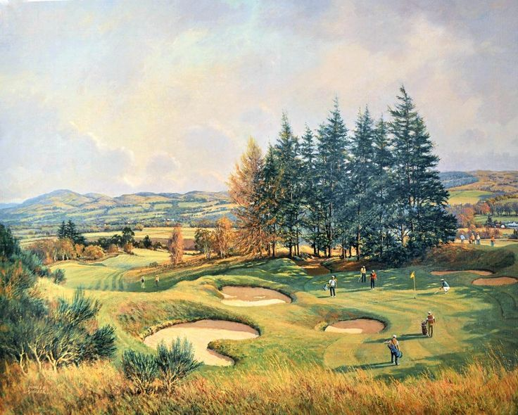 Donald Shearer The 14th, King's Course, Gleneagles Signed Limited Edition Print 20x25 | Scottish Contemporary Art