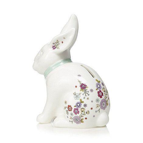 At home with Ashley Thomas White porcelain rabbit shaped money box   Debenhams