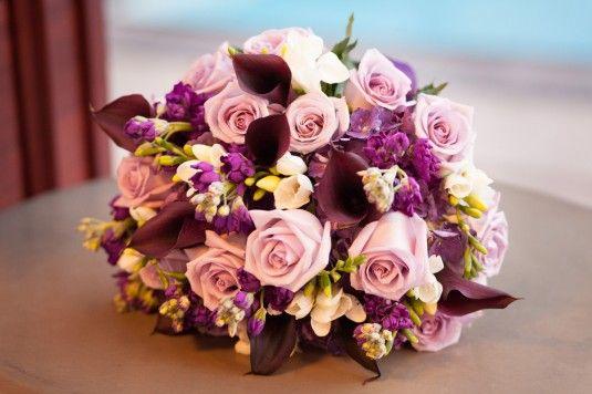 Inside A Day To Cherish Weddings   Purple wedding bouquet   Ritz Carlton