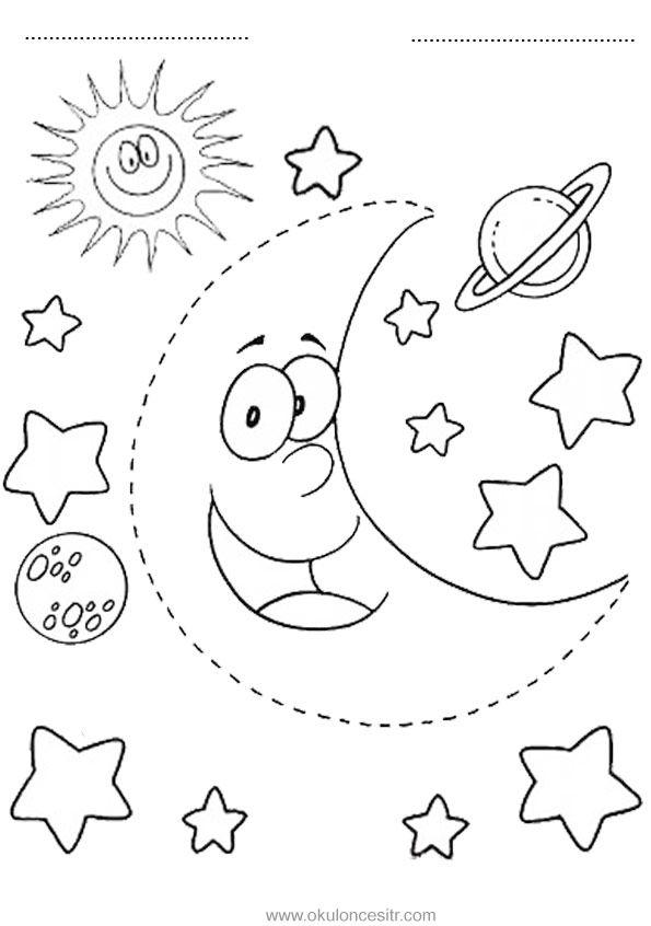 Gece Gunduz Calisma Sayfasi Okuloncesitr Preschool Aplike Sablonlari Boyama Sayfalari Gece
