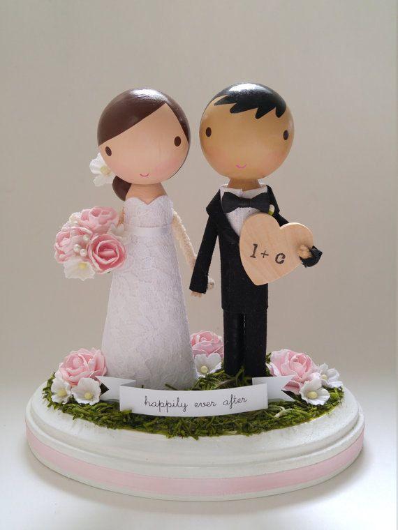 custom wedding cake topper - banner & heart