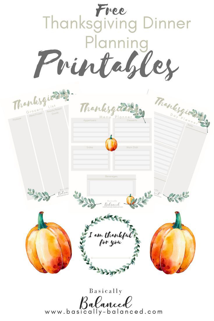 Cute FREE Thanksgiving Dinner Planner Printables to help you prep and host a dinner party