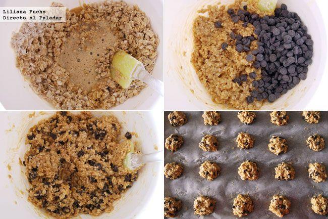 GALLETAS DE AVENA Y CHOCOLATE: 60 g de mantequilla sin sal, 1 huevo L, 100 g de copos de avena, 50 g de harina, 55 g de azúcar, 1/2 cucharadita de levadura química (impulsor), 1/4 cucharadita de esencia de vainilla, 1/4 cucharadita de sal, 100 g de chips de chocolate negro.