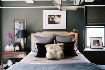 i've got me eye on headboards (+love the pharmacy lamp --- dual bedside lighting without two nightstands)