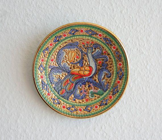 Gialletti DERUTA Ceramics Plate Byzantine Mosaic Peacock Italian Design Stoneware Italy Decoration Studio Art Pottery Midcentury Modern