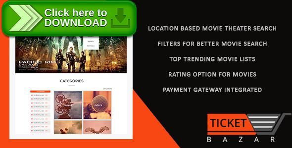 [ThemeForest]Free nulled download Online Movies Ticket Booking - Ticket Bazzar from http://zippyfile.download/f.php?id=55629 Tags: ecommerce, book a ticket, book movie tickets, book my show, book my ticket, bookmyshow clone script, buy movie tickets online, get my ticket, movie ticket booking, movie ticket booking php script, my ticket, online movie ticket booking, online movie ticket booking project in php, online ticket booking, online ticket booking script, ticket online