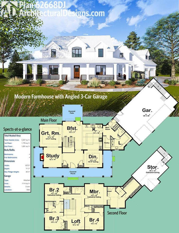 Introducing Architectural Designs Modern Farmhouse Plan 62668DJ! The front porch wraps three sides. An angled 3-car garage comes off the right side at an angle. And the vaulted master bedroom has an enormous walk-in closet.The home gives you over 3,400 square feet of heated living space. *study into guest room. His and her closets and a huge soaking tub. Need a sun room too.