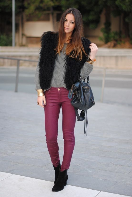 oxblood pants + black fur vest