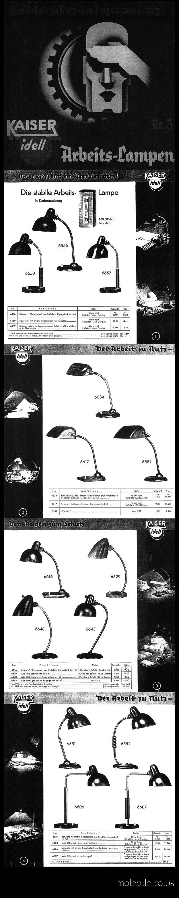 Rare Kaiser & Co. Work Lamp Catalogue 1936 - Pages 1 to 4 #KaiserIdell #Kaiser_Idell #ChristianDell #Bauhaus #Modernism #Modernist #Molecula