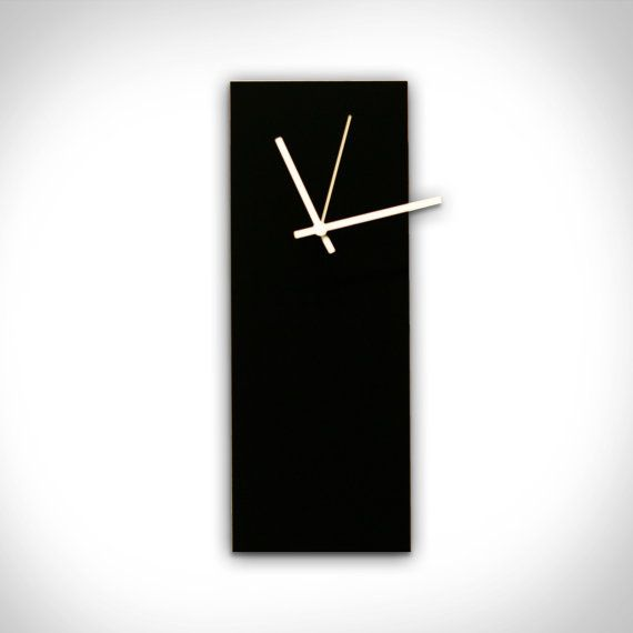 $74.99 'Blackout White Clock' (25% OFF) A #modern minimalist black metal wall #clock with white clock hands. Hands also come in blue, orange, green, red and black. The clock has a satin black body and beveled pinstripe #metallic edge. Black and white. 6 x 16 x 1. Acrylic on space age alloy with an innovative UV clear coating. www.etsy.com/listing/158381589/25-off-minimalist-art-blackout-white?ref=shop_home_active_3