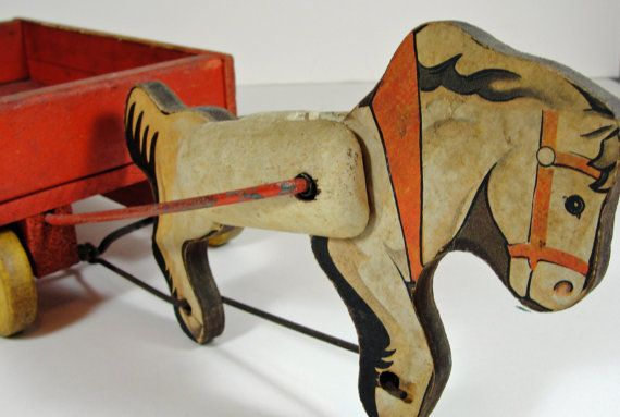 Rare 1940s Wood Pony Express Pull Toy No 733  by RetrofitStyle, $185.00