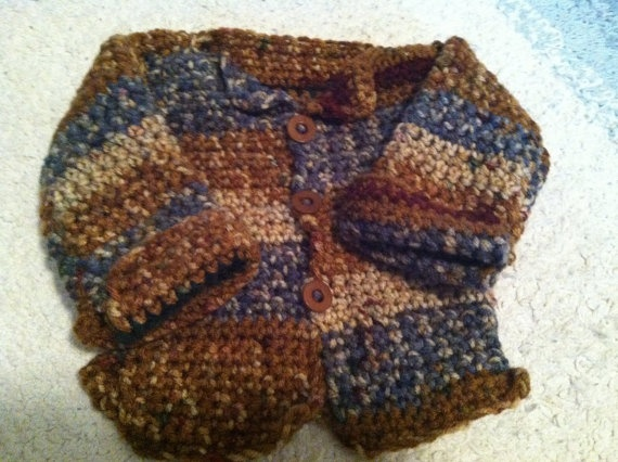 Crocheted Sierra Stripped Cardigan for Newborn Boy. $10.00, via Etsy.  I love this, $10 is a steal, but my new grandson is coming in June in Phoenix. This is killing me!