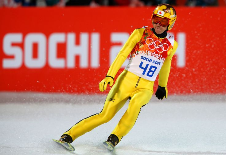 Noriaki Kasai of Japan lands his jump during the Men's Large Hill Individual Final Round (c) Getty Images
