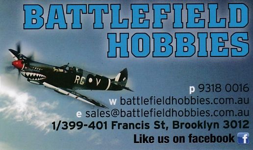 Battlefield Hobbies. More than Just A Model Store!  and Chris is always happy to help you find those much sought after rarities for you. Don't forget to check out Battlefield Hobbies on face book !https://www.facebook.com/BattlefieldHobbies/photos_stream and click on a like for us cheers! http://www.battlefieldhobbies.com.au/