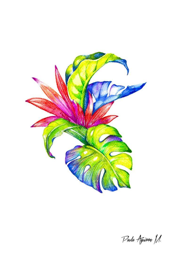"""Color tropical"" dibujo hecho con lápices acuarelables"