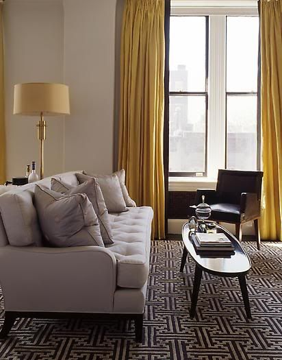 Fted sofa black white carpet rug gold yellow curtain - Black and gold living room curtains ...
