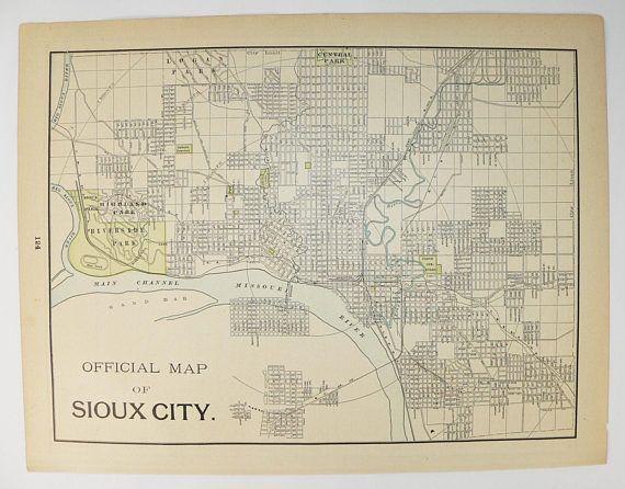 Antique Sioux City IA Map, St Joseph MO Map 1897 City Street Map, Sioux City Gift, St Joseph Gift, Vintage Art Map, Wedding Gift for Couple available from OldMapsandPrints.Etsy.com #SiouxCity #StJosephMissouri #RealAntiqueMap #CityStreetMap