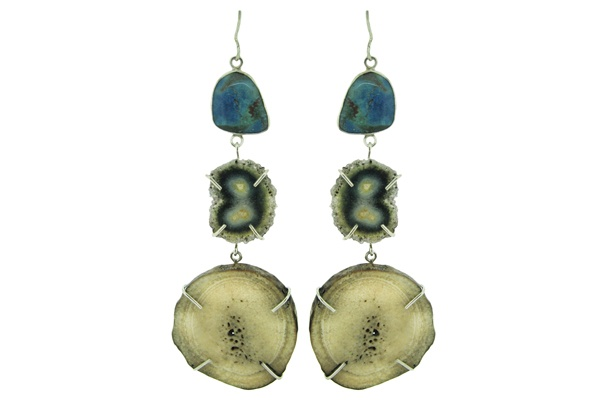 prong technique: Design Inspiration, Ch Earring, Awesome Geode, Prong Technique, Fossil Earrings, Geode Earings, Dream Accessories, Costume Jewelry, Art Jewelry