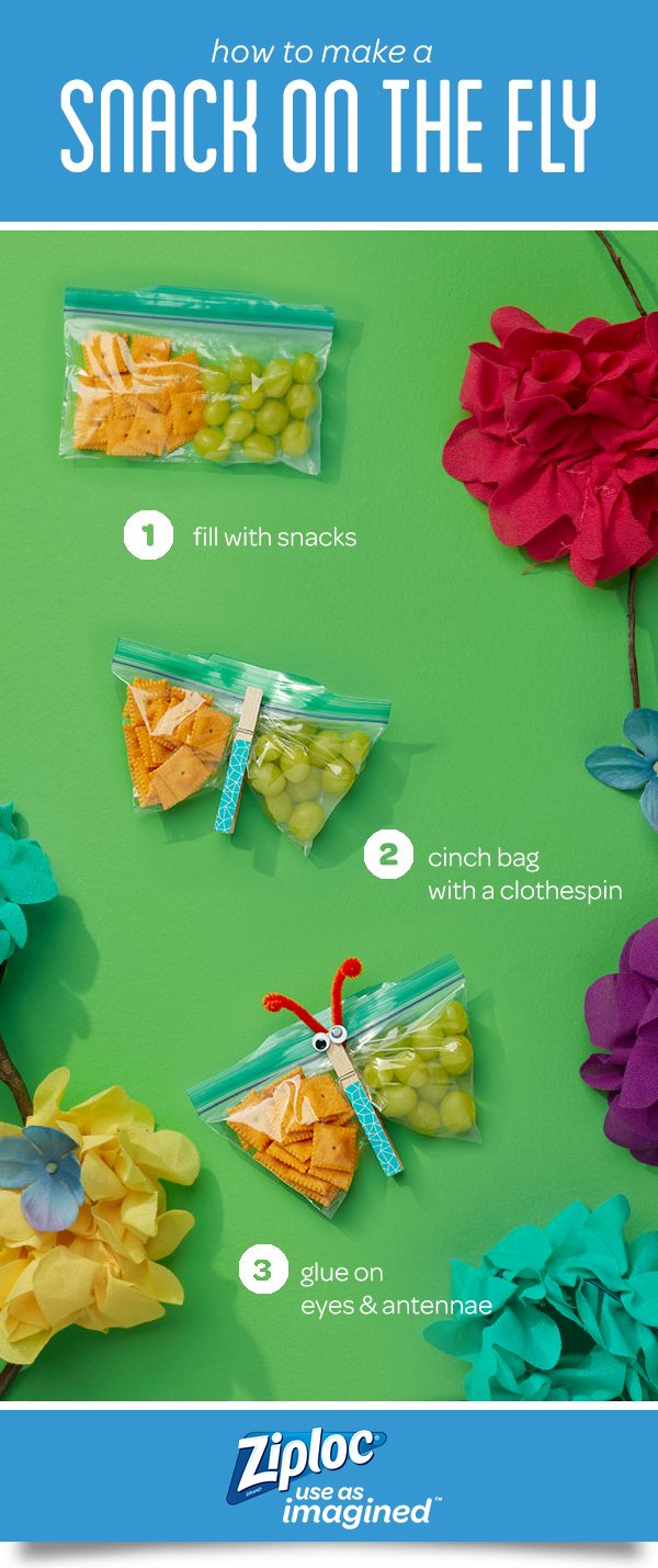 It's more than a bag, it's a snack on the fly! Make these easy and yummy craft ideas with Easy Open Tabs. They're a great way to make on-the-go snack time more fun for parents and kids! Simply fill the Ziploc® brand seal top bag with tasty snacks and fast