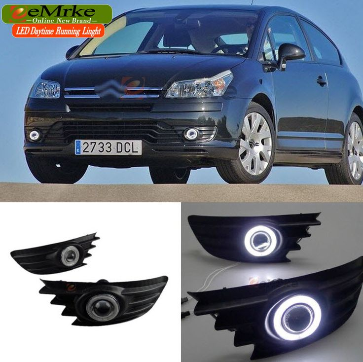 eeMrke Car-styling For Citroen C4 VTR 2005-2010 LED Angel Eyes DRL Fog Lights Daytime Running Lights with Halogen Bulbs H11 55W