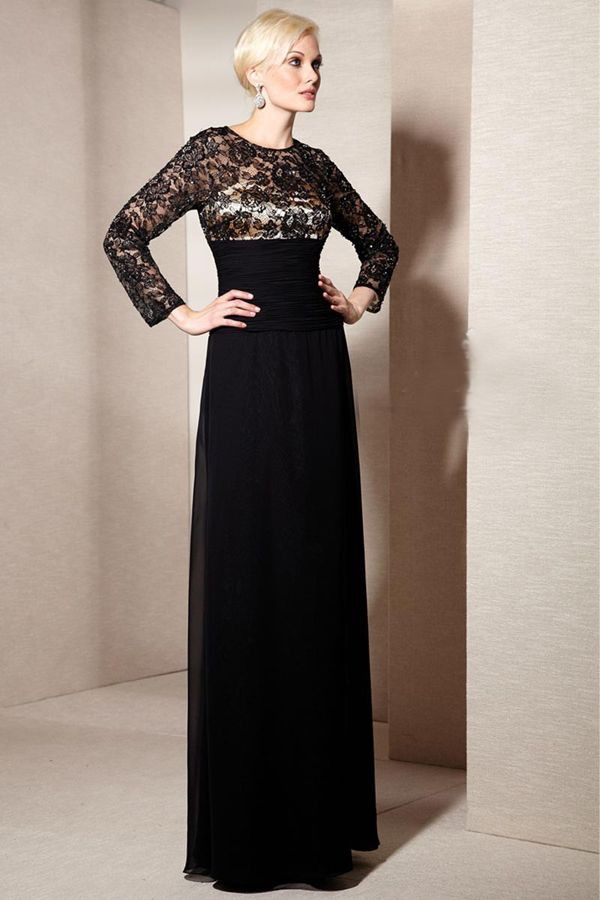 Black Lace Bodice Long Sleeves Formal Evening Gown Mother Dress