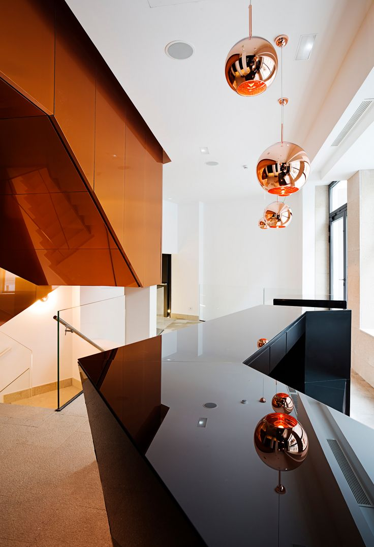 Copper clad staircase in a hotel in Madrid. http://copperconcept.org/en/references/bb-puerta-del-sol-hotel-madrid-spain