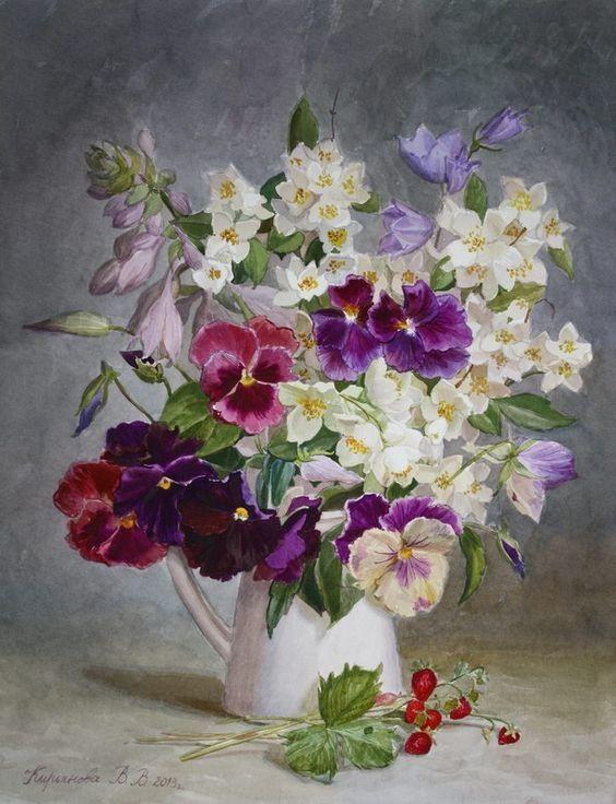 Виктория Кирьянова | Анютины глазки, Цветочные картины ...