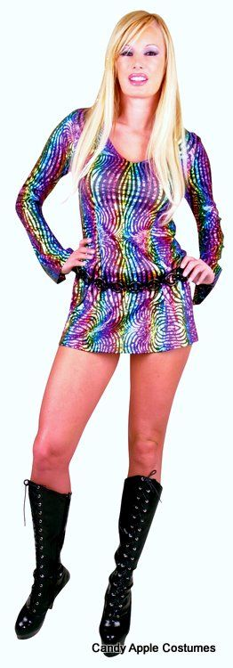 Adult Rainbow Swirl Disco Girl Costume - Candy Apple Costumes - Rainbow Costumes