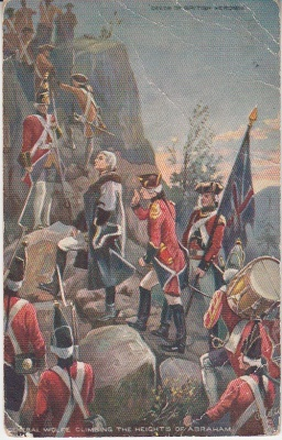 "Raphael Tuck Oilette Postcard -""deeds of British Heroism Series"" 9132 - General Wolfe climbing the Heights of Abraham"