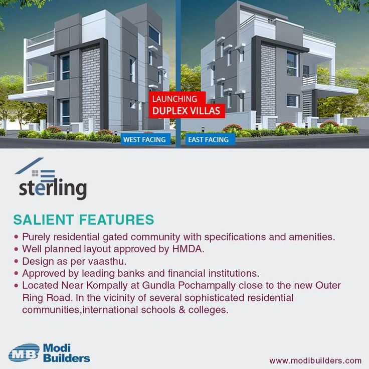 Get Duplex / luxury villas at Gundlapochampally near kompally in Hyderabad from the experts Modi Builders, delivering quality housing at affordable prices visit us: http://www.modibuilders.com/current_projects/sterling/
