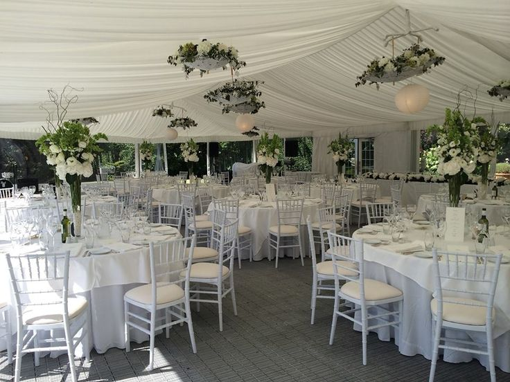 Marquee Interior set with White Chiavari Chairs